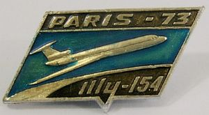 Original Russian Pin Badge -Tupolev TU-154 - Paris Air Show 1973 - sold